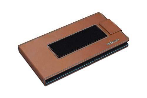 reboon Hülle für Huawei Ascend D2 Tasche Cover Case Bumper | Braun Leder | Testsieger - 2