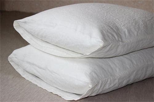 XKMY Funda de almohada para dormitorio, 100% lino, 100% lino, funda de almohada de 40 x 60 cm, antibacteriana, tamaño pequeño, para almohadas de látex, 2 piezas (color blanco, tamaño: 400 x 600 mm)
