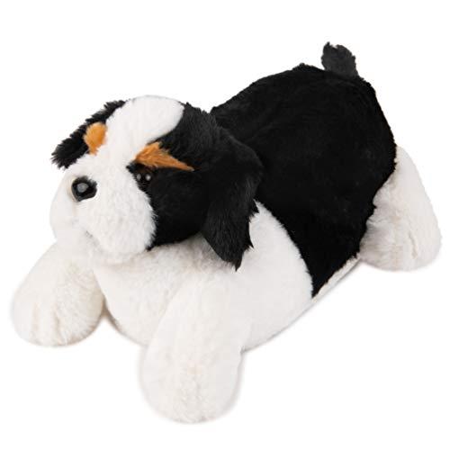 Lazy Paws Tier-Hausschuhe für Erwachsene, Größe M, Schwarz (Puppy Dog), Medium