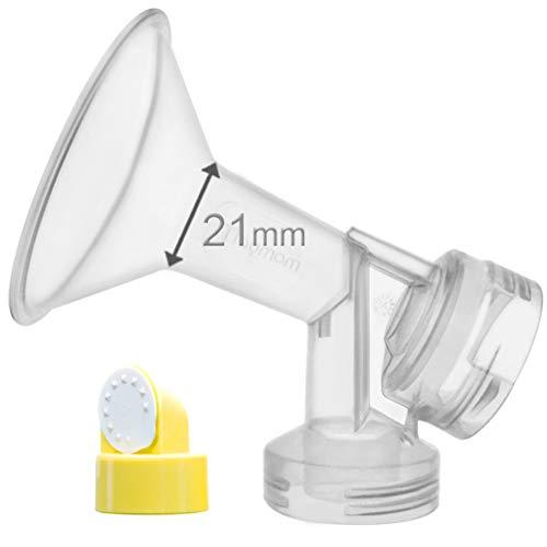 Reemplace Medela 21 mm Personal Fit mama Escudo y conector; 21mm De una sola pieza copa con válvula y membrana para extracores de leche Medela, Hecho por Maymom