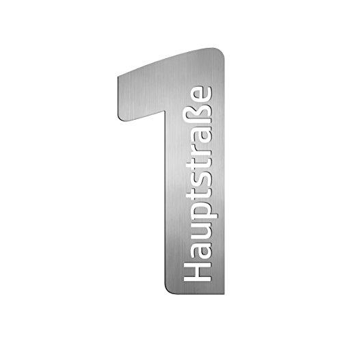 Thorwa Design Hausnummer mit Straßenname oder Familienname/Namensschriftzug (Design 14) Hausnummernschild aus Edelstahl mit Wunschschriftzug/Namen/Schriftzug (Höhe 40cm) (1 Zeichen)