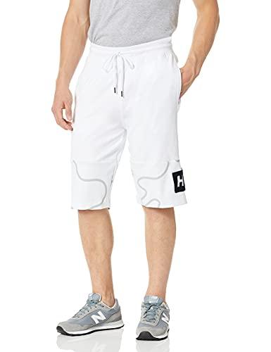 Southpole Men's All Over Print/Velvet Stitch Shorts, White, Large