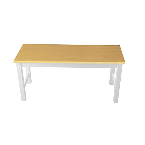 Sturdy Garden Solid Pine Dining Table Bench -Wooden Kitchen Dining Room Chair Bench Hallway Doorway Leisure Patio Seat (White with Natural Pine)