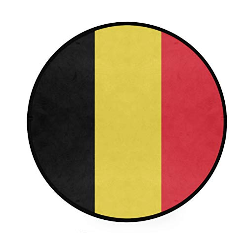 LORONA Bandera Belga Bélgica Alfombra de área Oficial Alfombra Redonda Antideslizante Sala...