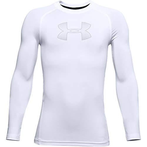 Under Armour Heatgear Armour T-Shirt Manches Longues Garçon Blanc FR : L (Taille Fabricant : Taille YLG)