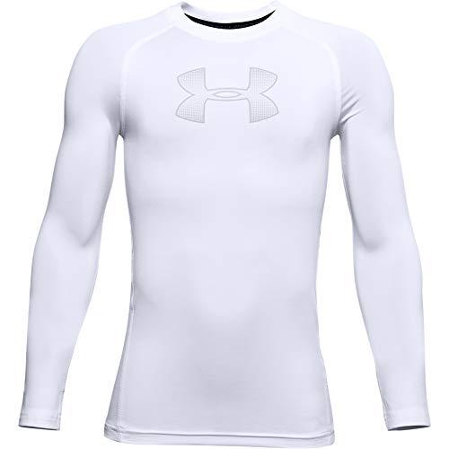 Under Armour Boys' HeatGear Armour Long Sleeve T-Shirt , White (101)/Mod Gray , Youth Small