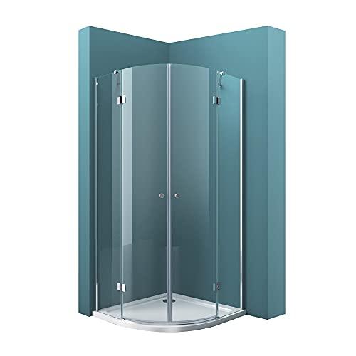 Mai & Mai Viertelkreis-Dusche R02K Klarglas-Duschkabine 80x80x190cm 2 Pendeltüren 6mm ESG-Sicherheitsglas Nano-Beschichtung inkl. Duschtasse