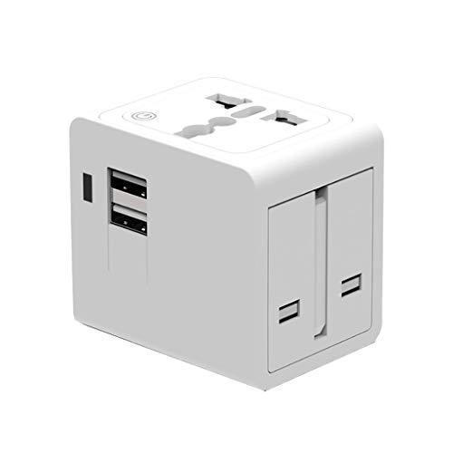 PIAOLING Adaptador de Viaje Universal, Adaptador de energía Internacional con Doble USB, Adaptador de energía Universal (Color : White)
