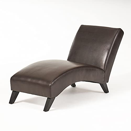 Cleveland Brown Leather Curved Chaise