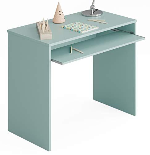 Miroytengo Mesa Escritorio Juvenil Color Verde habitación Infantil con Bandeja extraíble 90x54x79 cm