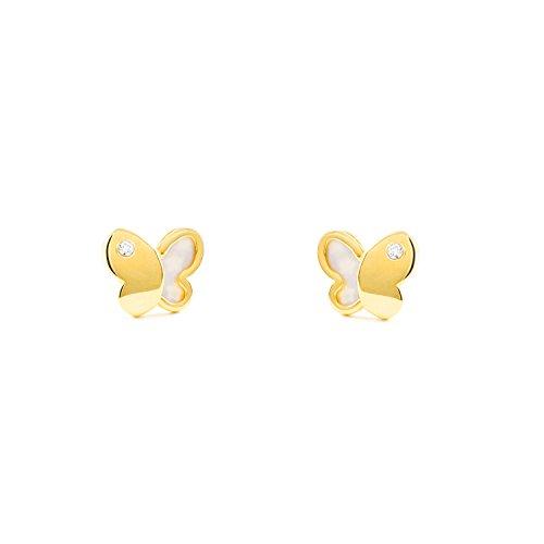 Pendientes niña mariposa con nacar y circonita (9Kts)