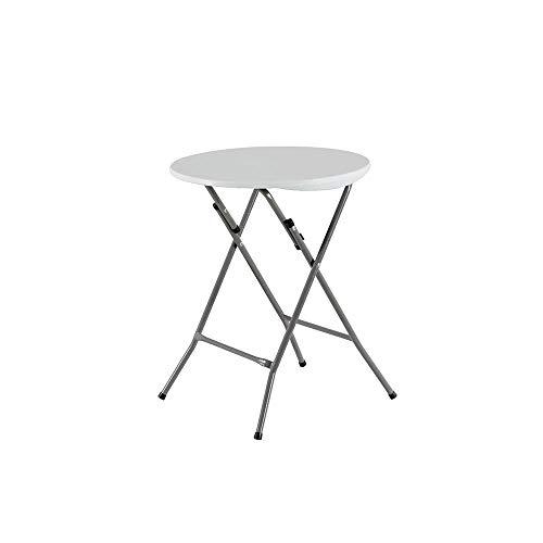 Folding Table, Modern Round Kitchen Plastic, eettafel met stalen frame Benen, gemakkelijk op te slaan, voor Huis Restaurant Bar Caf (60 * 74cm),White