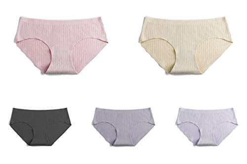 Women's 5 Pack Cotton Panty Breathable Comfortable Briefs Underwear Lingerie Panties-ST104-S