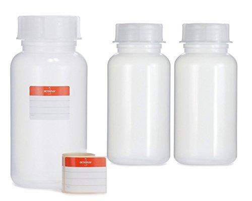Octopus 3X 1000 ml Weithalsflaschen aus LDPE mit Schraubverschluß, Leere 1 Liter Chemiekalienflaschen, Laborflaschen mit Deckel als Aufbewahrungsbehälter für Labor, Küche oder Hobby