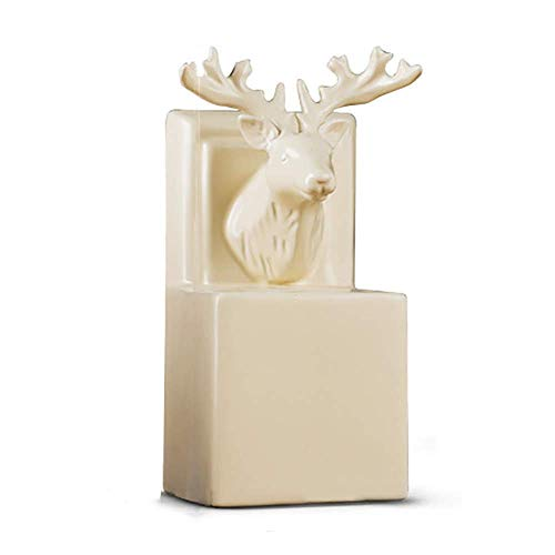 Sujetalibros sujetalibros, Estatuas Cerámica cabeza de los ciervos del sujetalibros estante grande...