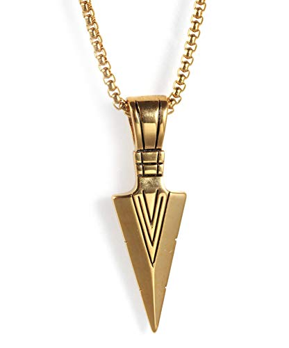 Edelstahl Speer Kopf Retro Anhänger Herren Halskette Mode Pfeil Titan Stahl Darts Gold Dreieck Anhänger Schmuck Geschenk-Gold