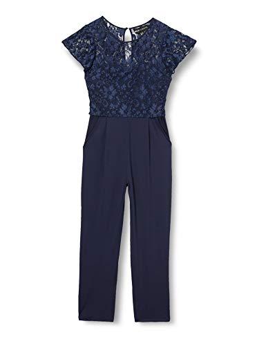 Mela Damen Lace Top Overlay Jumpsuit Overall, blau, 38