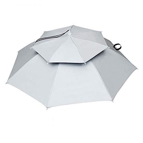 hong Sombrero de sombrilla Manos Libres, 77cm Protector Solar Paraguas montado en la Cabeza a Prueba de Viento Paraguas con Sombrero Plegable Superior, Paraguas para la Cabeza(Plata)