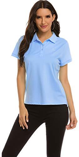 MoFiz Polo Donna Manica Corta Poloshirt Golf Camicia Sportiva Estate Top Traspirante Blu S