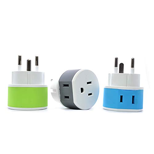 Denmark Power Plug Adapter by OREI with 2 USA Inputs - Travel 3 Pack - Type K (US-20) Safe Grounded Use with Cell Phones, Laptop, Camera Chargers, CPAP, and More