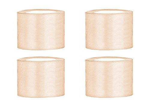 SiDeSo® Satinband 100m x 50mm (4x25m Rolle) viele Farben Hochzeit Dekoband Geschenkband Schleifenband (Creme)