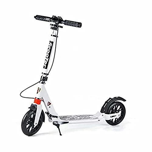 SJZD Scooter Plegable, Scooter Freestyle, Scooter para Adultos con Freno de Disco, no eléctrico, con Capacidad de Carga 150 kg (Blanco)