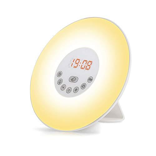 Lichtwecker, omitium Wake Up Licht LED Wecker FM Radio Digitaluhr Licht mit 6 Farben 6 Natural Sounds 10 Dimmstufen und Snooze Funktion LED Nachtlicht Kinderwecker ideal für Schlafzimmer, Geschenk