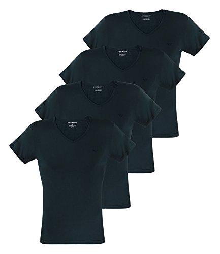 Emporio Armani Herren T-Shirts V-Neck Pure Cotton Kurzarm 111648-CC722 4er Pack, Farbe:Blau, Menge:4er Pack (2X 2er), Größe:XL, Artikel:-27435 Marine