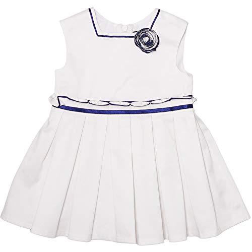 Tutto Piccolo - Vestido de Verano para niña. Sin Mangas. Falda Plisada y ribeteada en Azul Marino. Adorno Flor en el Hombro. Forro Interior