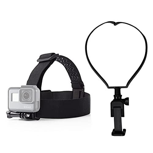VLOG/POV Adjustable Cellphone Head Strap Mount+ Neck Mount Holder Strap,Compatible withAction Camera/Gopro Hero/Apple iPhone SE 11 Xs X 8 7 Samsung Galaxy S20 S20+ BLU Phone (Head + Neck Mount)