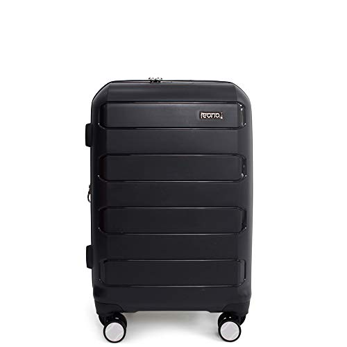 Amazon Brand - Eono Expandable Hand Luggage Hard Shell Polypropylene Anti-Scratch Cabin Carry On with Spinner Wheels and Built-in TSA Lock, 55cm, Black