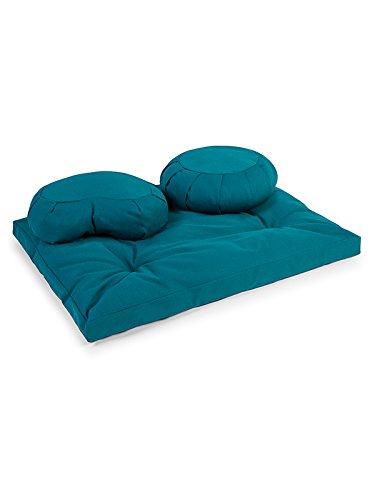 Yoga Studio Zabuton ecológicos de la UE, media luna & redondo cojín meditación Kit, Azul verdoso