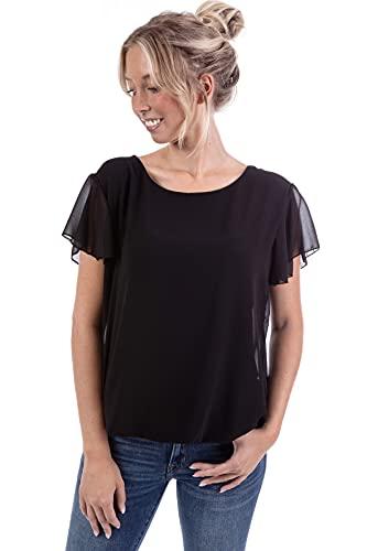 U&F Damen Sommer T-Shirt Kurzarm Basic mit Gummizug am Saum   Gr. S-XL   viele Farben   Rundhals und Casual mit gekreuzten Trägern am Rücken   Frühling, Sommer und Herbst Oberteil   Schwarz Größe: XL