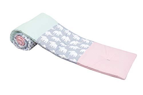 Baby Nestchen für Beistellbett (halbrund) | Made in EU | ÖkoTex 100 | Schadstoffgeprüft | Antiallergisch | Baby Bettumrandung | Babynest | Elefant Mint Rosa | 145 x 24cm | ULLENBOOM ®