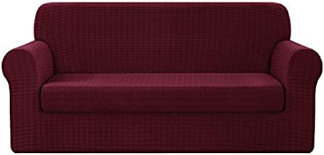 CHUN YI 2 Piece Houndstooth Sofa Cover Couch Slipcover, 3 Seater Settee Coat Soft with Elastic Bottom, Swallow Gird Spandex Jacquard Fabric (Large, Wine)