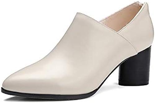 ZHZNVX Chaussures Confort Femme Bottes Printemps été en Cuir Nappa Talon Chunky Noir Beige   Rouge