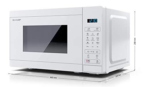 SHARP YC-MG02EC Mikrowelle mit Grillfunktion/Auftauprogramm/ 800 Watt/20 Liter/ 11 Leistungsstufen/ECO/Timer-Funktion/Kindersicherung/Inkl. Drehteller, displaysteuerung