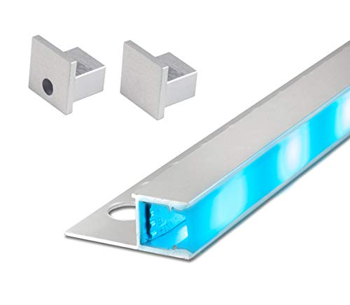 2,5 m FUCHS LED Fliesenschiene 12 mm Quadroprofil seitlich leuchtend Aluminium inkl. LED Streifen RGB (bunt), Endkappen und Abdeckung (milchig weiss) zur gleichmäßigen Lichtstreuung