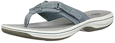 CLARKS Women's Breeze SEA Sandal, Blue Grey Synthetic, 70 M US
