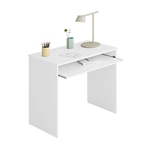 Habitdesign Mesa de Ordenador con Bandeja extraíble, Mesa Escritorio Juvenil, Modelo I-Joy, Color Blanco Artik, Medidas: 90 cm (Ancho) x 54 cm (Fondo) x 79 cm (Alto)