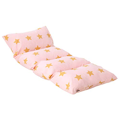 Wildkin Kids Pillow Lounger for Boys and Girls, Travel-Friendly and Perfect for Sleepovers, Requires 4 Standard Size Pillows (Not Included), Measures 69.5 x 27 Inches, BPA-Free (Pink and Gold Stars)