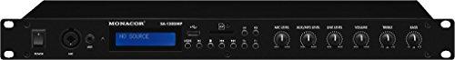Monacor SA-130DMP stereo-versterker, 140 watt versterker met geïntegreerde MP3-speler, bluetooth-ontvanger, FM-radio, regelbare microfoon- en aux-ingang, zwart
