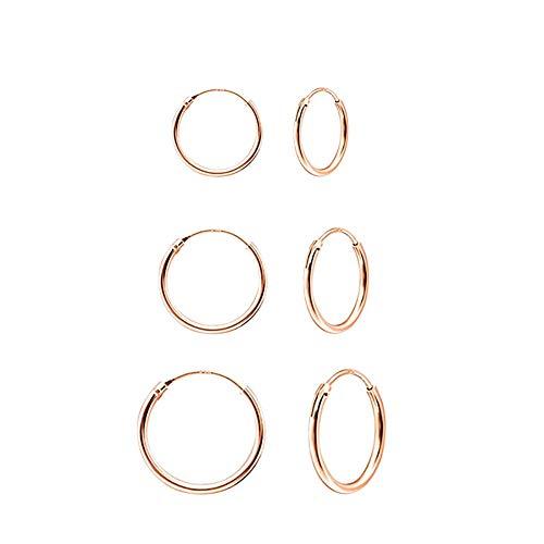 Nikgic - Pendientes de Oro Rosa con diseño de círculos, 3 Pares