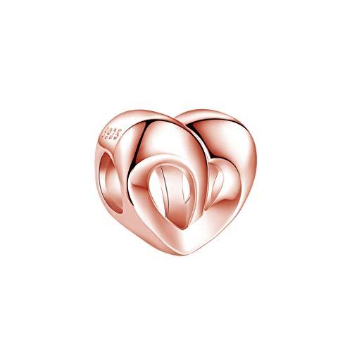 DIY Plata De Ley 925 Corazón De Oro Rosa Cuentas De Amor Románticas Mujeres Se Ajustan A Pulseras Pandora Originales Collar Colgante Fabricación De Joyas