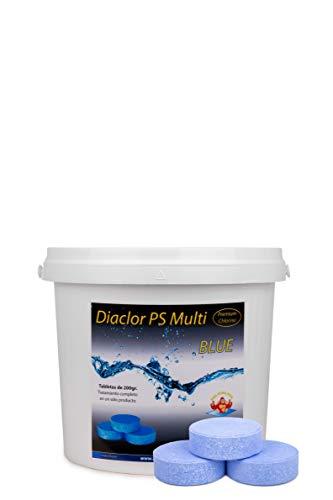Cloro para Piscinas DIACLOR PS Multi Blue 5 KG - 25 Pastillas de Cloro Lento Azul (200 gr - Diámetro Pastilla 7,5 cm) - Tratamiento Completo Multiacción
