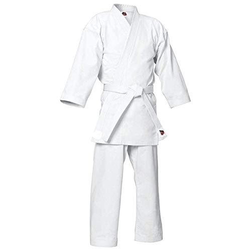 MYmixtrendz. Traje de Karate Blanco para Adultos y niños con cinturón Blanco Gratuito Uniformes de Poli/algodón (pre encogidos) Conjunto de Kimono para niños (White, 000/110cm 4-5yrs)