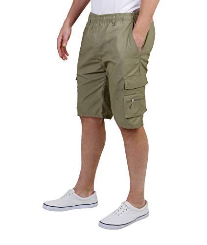 KRISP Pantalon Hombre Corto Verano Ancho Safari Cargo Multibolsillos