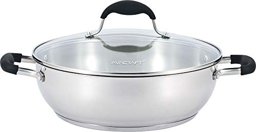 AVACRAFT 18/10 Stainless Steel Everyday Pan, Stir Fry Pan with Five-Ply Base, Chef's Pan with Glass Lid, Multipurpose Stewpot Skillet, Saute Pan, Casserole in Pots and Pans (11 inch)
