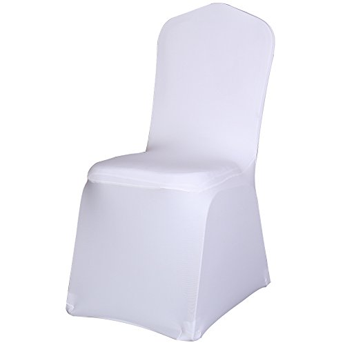 Best Sale Set of 50pc White Color Universal Size Polyester Spandex Banquet Wedding Party Decoration Stretch Dining Chair Covers--(Flat Bottom)