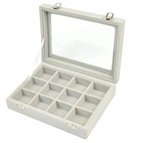 Tnaleve Joyero, caja de almacenamiento de joyas, soporte para anillos con 12 compartimentos, collar, aretes, organizador de regalo para niñas y mujeres, 20 x 15 x 3 cm